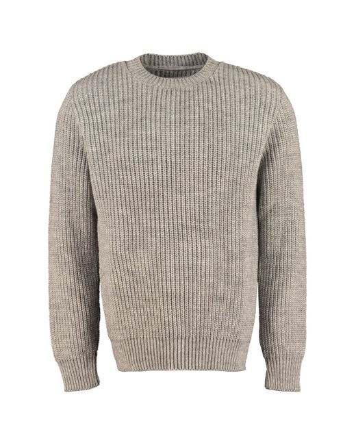 Universal Works Gray Ribbed Crew-neck Sweater for men