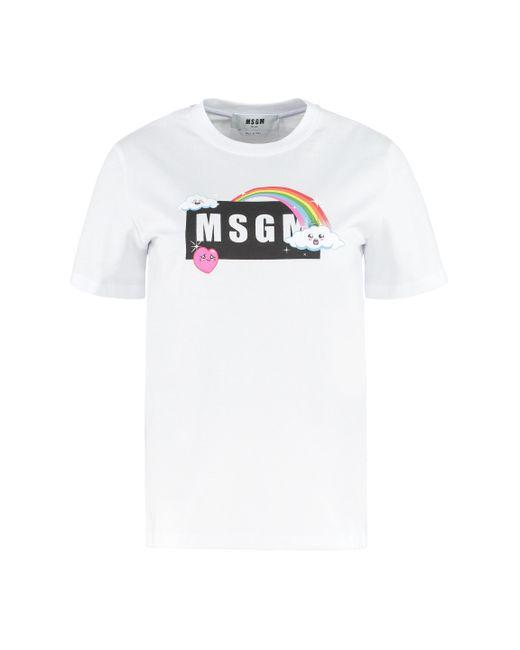 T-shirt in cotone con stampa di MSGM in White