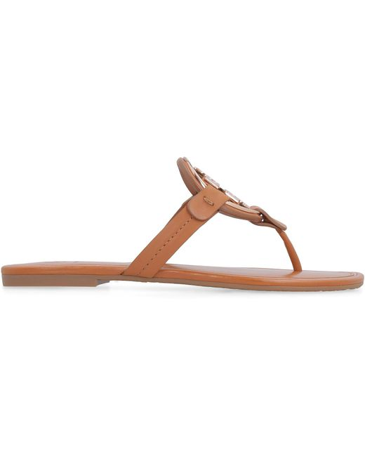 Tory Burch Brown Miller Metal-logo Sandals, Leather
