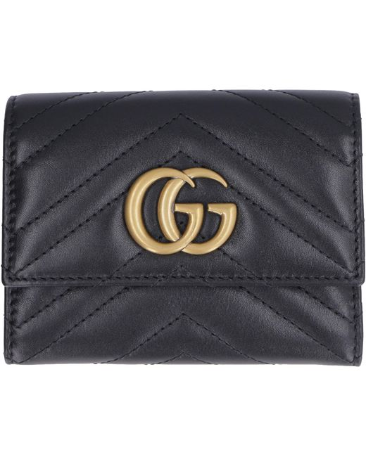 Gucci Black Marmont Quilted Leather Wallet GG