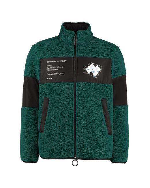 Off-White c/o Virgil Abloh Green Fleece Bomber Jacket for men
