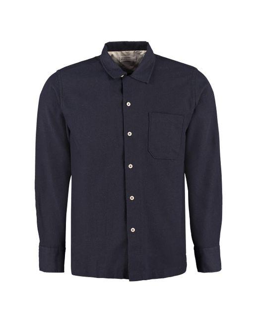 Universal Works Blue Garage Long Sleeve Cotton Blend Shirt for men