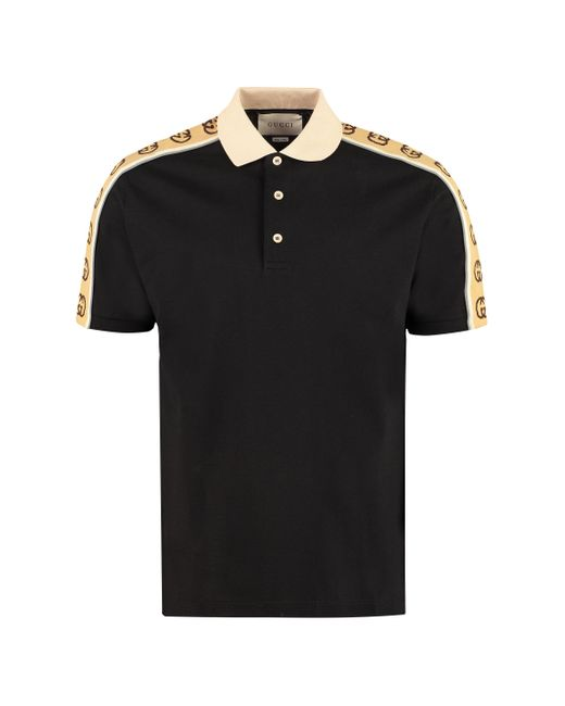 Gucci Black GG Embroidered Stretch-cotton Polo Shirt for men