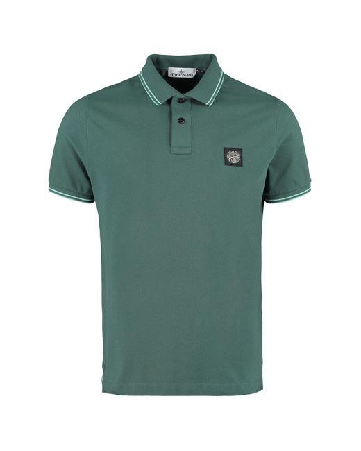 Stone Island Green Cotton Piqué Polo Shirt for men