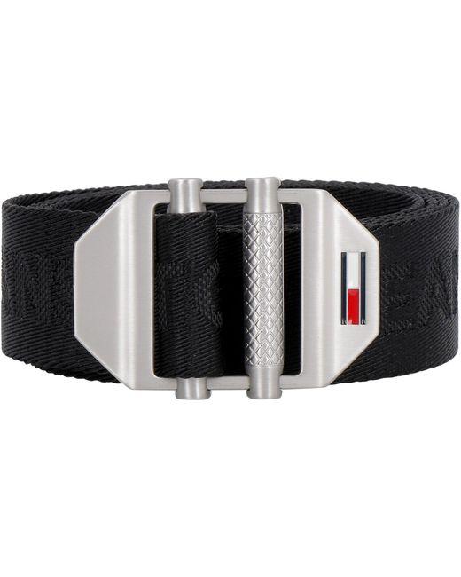 Cintura in tela con logo di Tommy Hilfiger in Black da Uomo