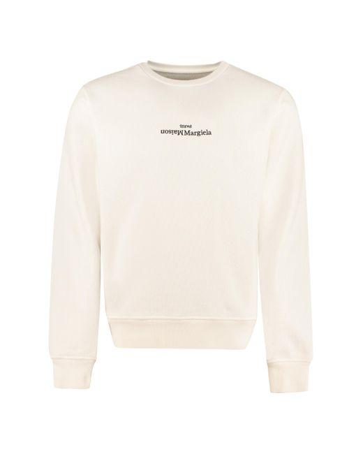Felpa in cotone con logo di Maison Margiela in White da Uomo