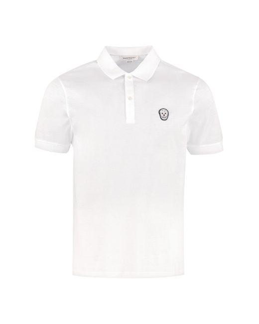 Alexander McQueen Black Short-sleeved Cotton Polo Shirt for men