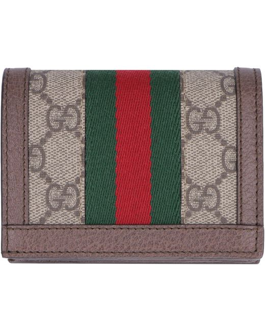 Gucci Ophidia GG Supreme Fabric Wallet In Beige (Natural) - Lyst