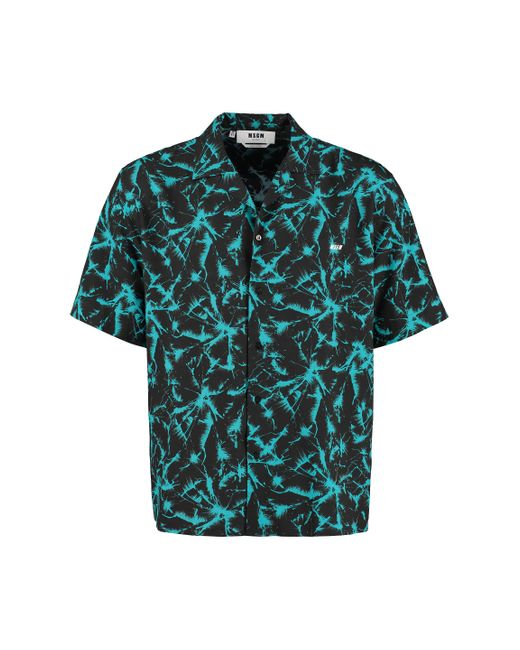 Camicia a maniche corte stampata di MSGM in Blue da Uomo