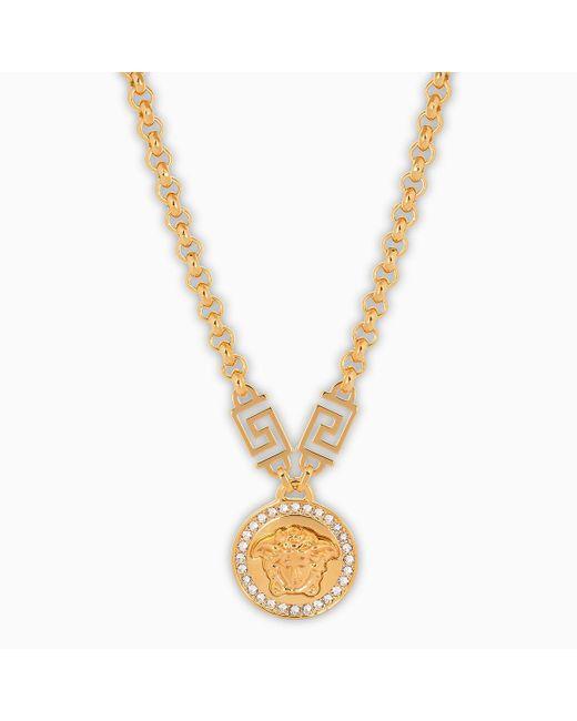 Versace Metallic Medusa Pendant Necklace