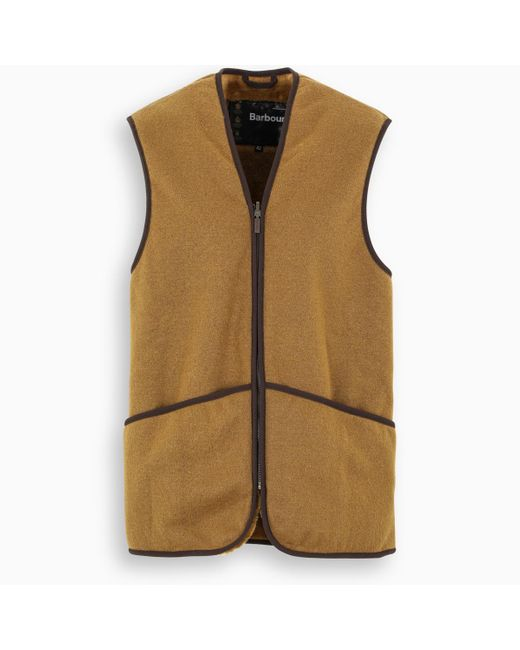 Barbour Brown Warm Pile Waistcoat Zip-in Liner Vest for men