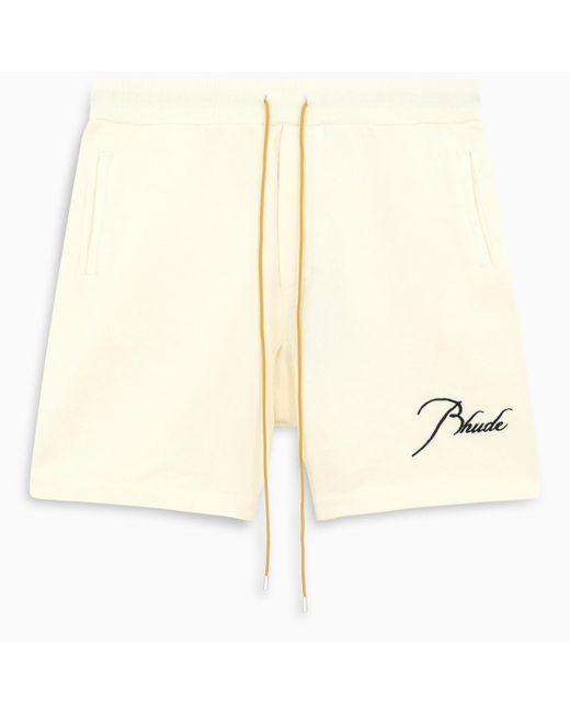 R H U D E © White Cream Logo-embroidery Shorts for men