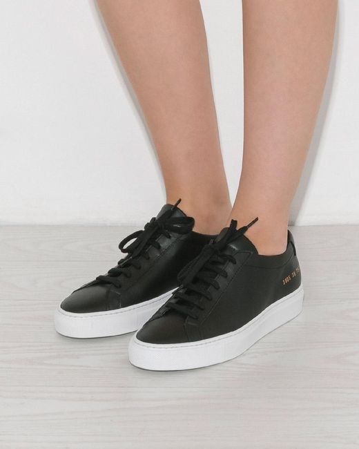 663af7272f66 ... Common Projects Black Original Achilles Low White Sole Sneakers ...