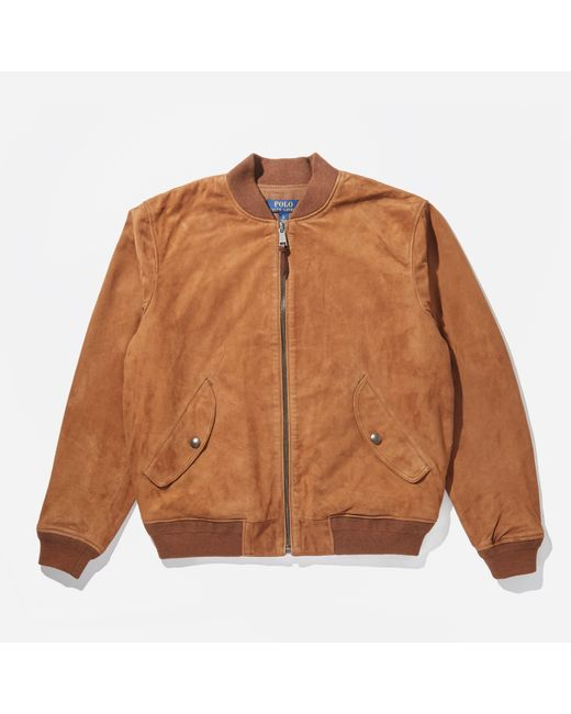 Polo Ralph Lauren Brown Lined Suede Leather Jacket for men