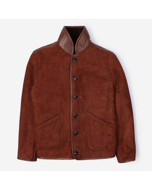YMC Brown Brainticket Suede Sheepskin Jacket for men