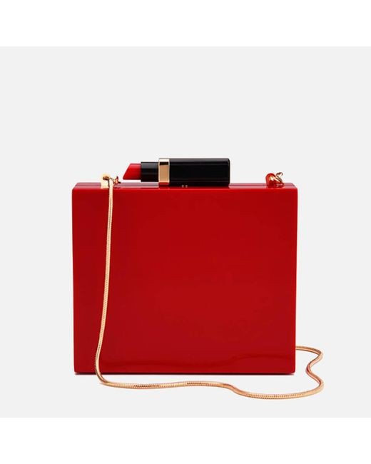 Lulu Guinness - Red Chloe Perspex Clutch Bag With Lipstick - Lyst