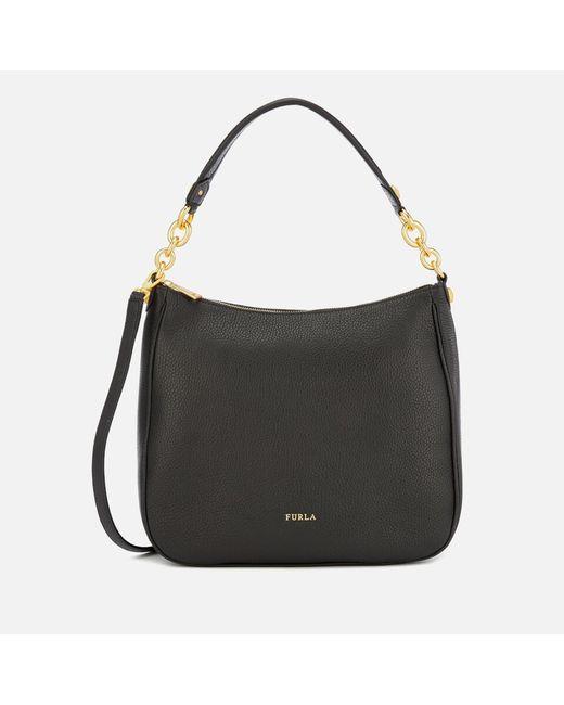 Furla Black Cometa Medium Hobo Bag