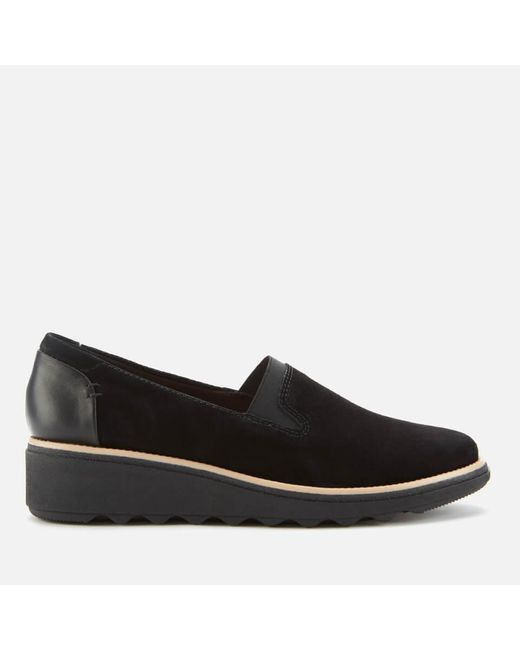 Clarks Black Sharon Dolly Suede Loafers