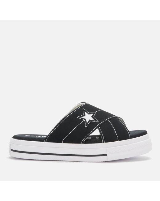 Converse Black One Star Suede Slip Sandal