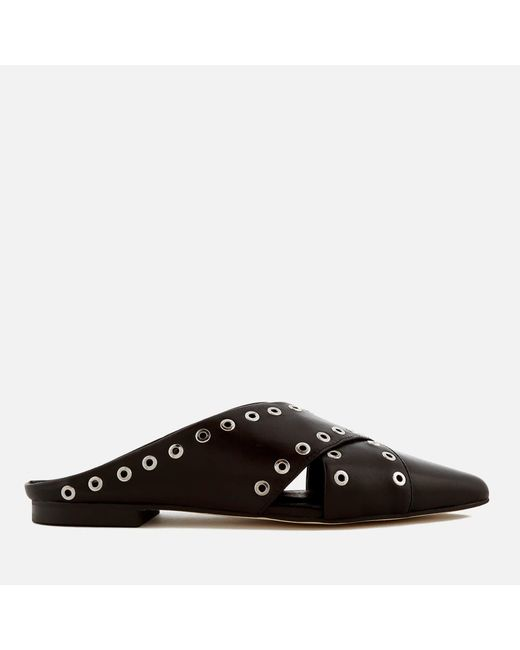 Sol Sana - Black Cross Leather Pointed Flats - Lyst