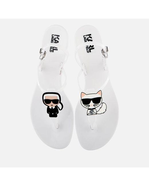 Karl Lagerfeld White Jelly Karl Ikonic Sling Sandals