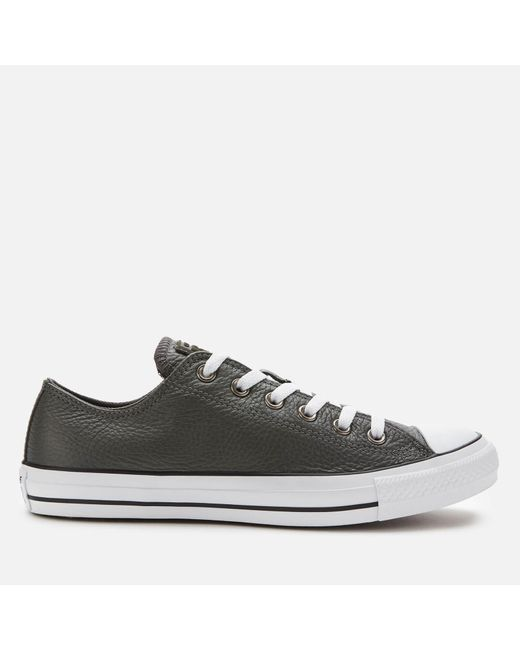 Men's Gray Chuck Taylor All Star Leather Ox Trainers