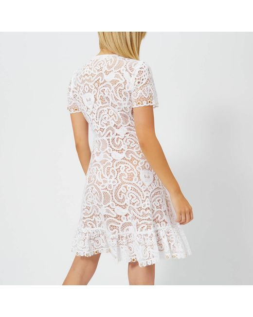 c6b74a1de87 ... MICHAEL Michael Kors - White Ruffle V Neck Dress - Lyst ...
