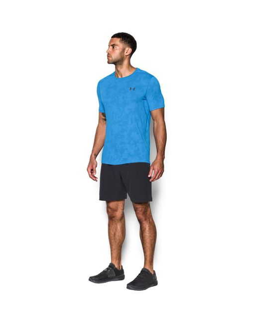 Lyst under armour elite fitted t shirt in blue for men for Under armour fitted t shirt