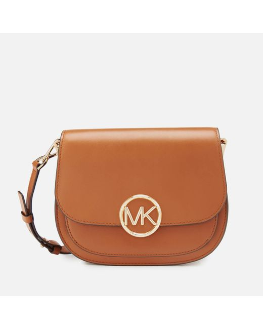7e8caf1b25f4 MICHAEL Michael Kors - Brown Lillie Medium Saddle Messenger Bag - Lyst ...