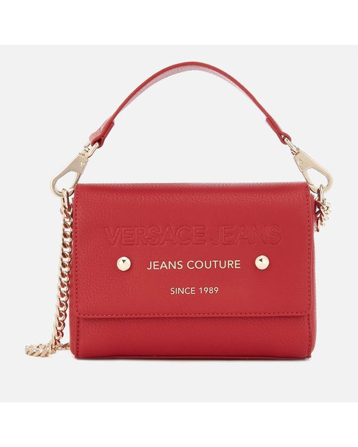 Versace Jeans - Red Top Handle Chain Cross Body Bag - Lyst