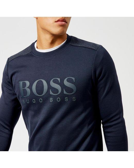BOSS Green - Blue Salbo Logo Sweatshirt for Men - Lyst