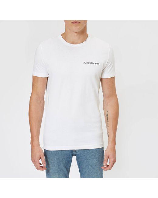 c10172cdfd7d Calvin Klein - White Chest Institutional Slim T-shirt for Men - Lyst ...