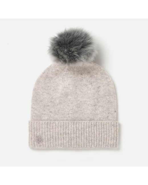 Ugg | Gray Luxe Cuff Hat With Oversized Toscana Pom | Lyst