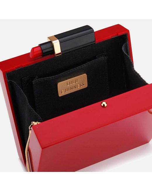 9262cd5032 ... Lulu Guinness - Red Chloe Perspex Clutch Bag With Lipstick - Lyst ...