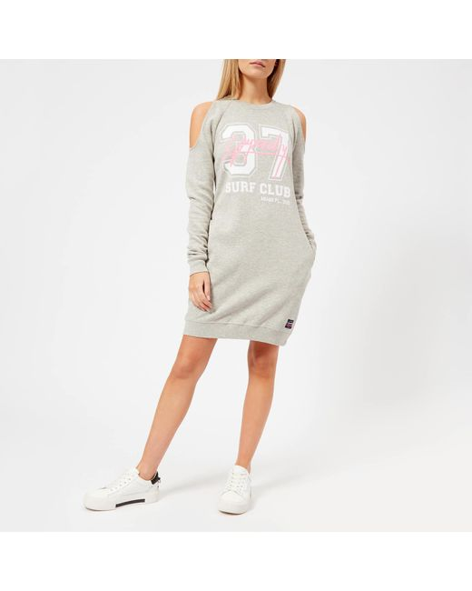 Superdry - Gray Miami Cold Shoulder Sweat Dress - Lyst