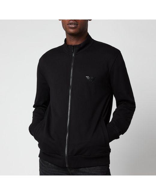Emporio Armani Black Iconic Terry Zip Through Sweatshirt for men