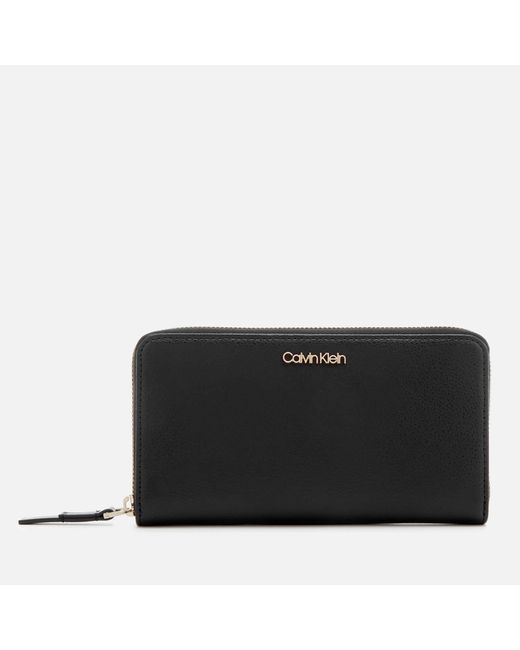 Calvin Klein - Black Frame Large Zip Around Wallet - Lyst