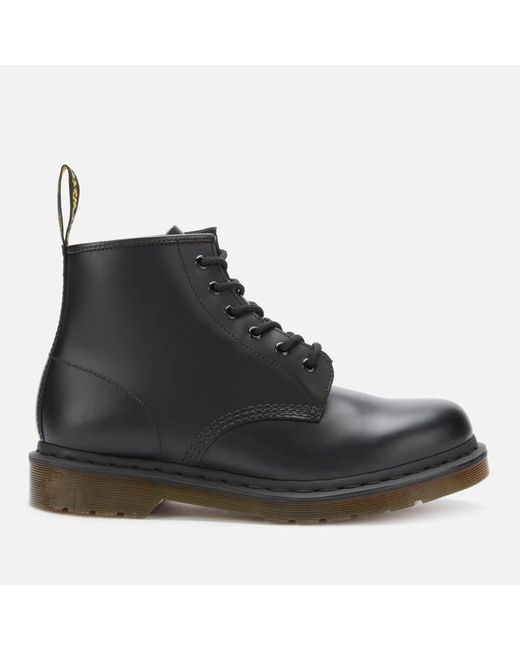 Dr. Martens Black 101 Smooth Leather 6-eye Boots