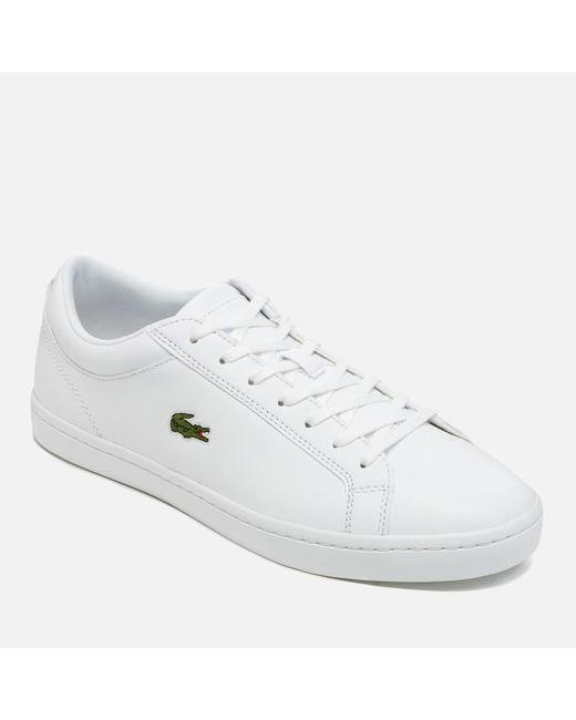 26748da3f ... Lacoste - White Straightset Bl 1 Leather Trainers for Men - Lyst ...