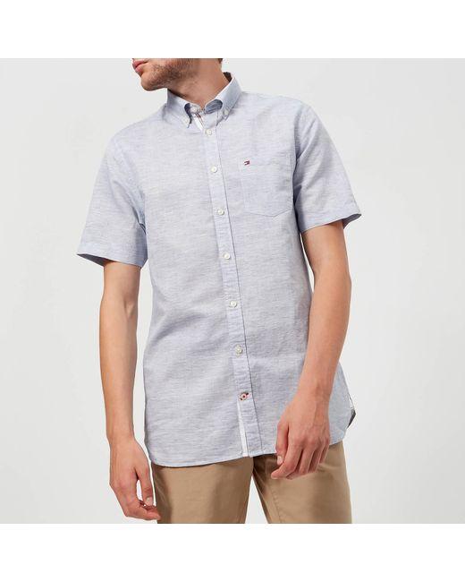 b4ddad76 Tommy Hilfiger - Blue Engineered Short Sleeve Shirt for Men - Lyst ...
