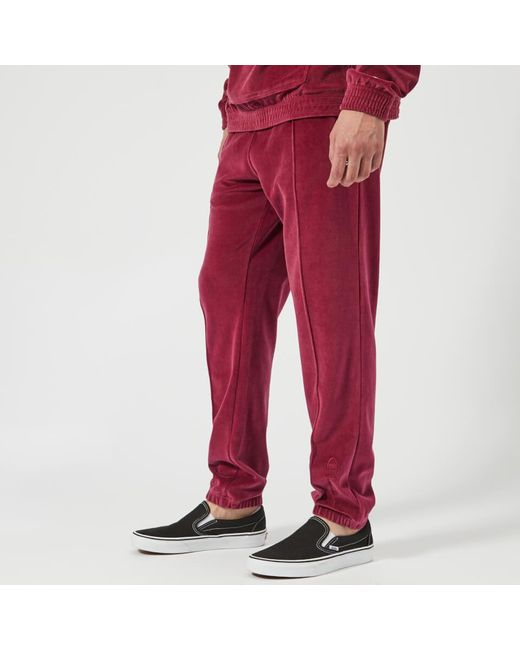 Champion Cotton Velour Track Pants In Burgundy Red For Men Save 40 Lyst