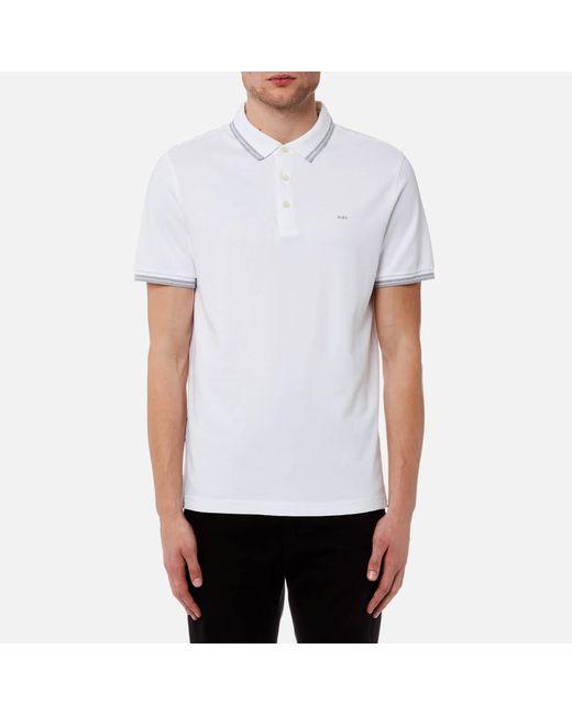 Michael Kors - White Greenwich Logo Jacquard Short Sleeve Polo Shirt for Men - Lyst
