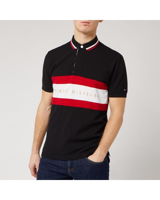 Tommy Hilfiger Black Iconis Chest Stripe Polo Shirt for men