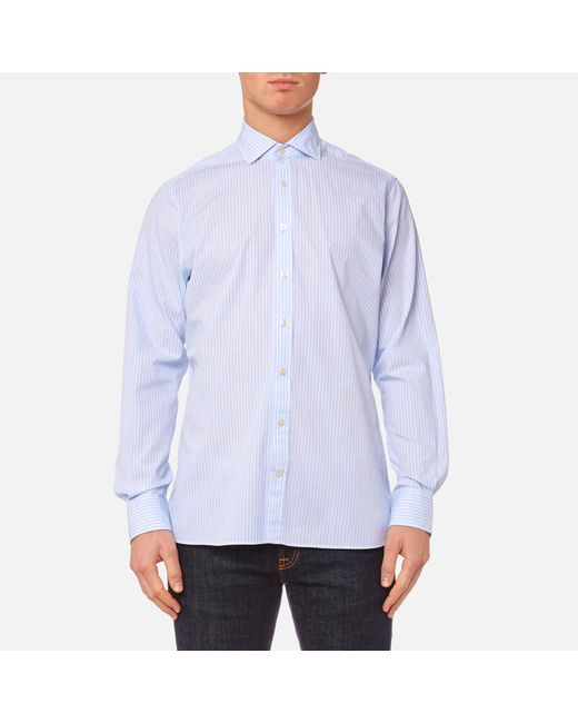 Hackett - Blue End On End Long Sleeve Shirt for Men - Lyst