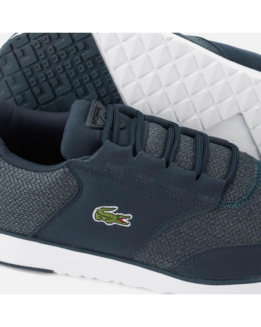 6d2a2419426a9a ... Lacoste - Blue Light 318 3 Textile Runner Style Trainers for Men - Lyst