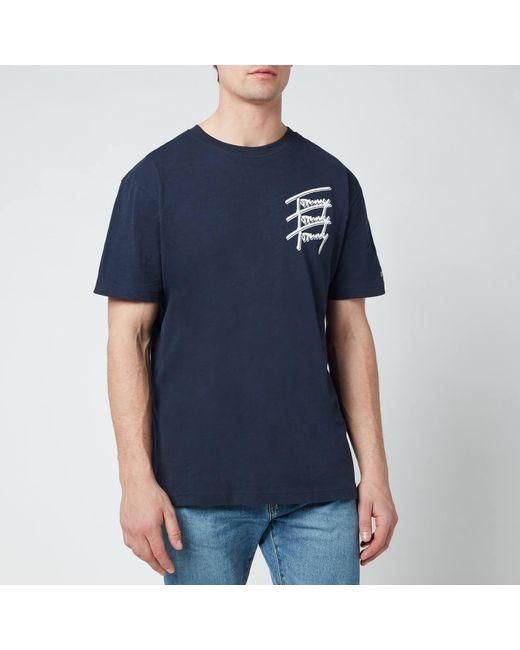 Tommy Hilfiger Blue Repeat Script Logo T-shirt for men