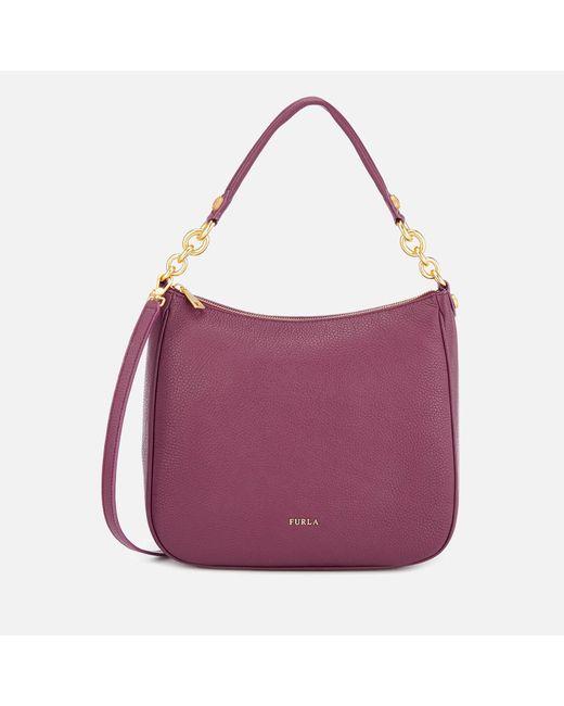 Furla Purple Cometa Medium Hobo Bag