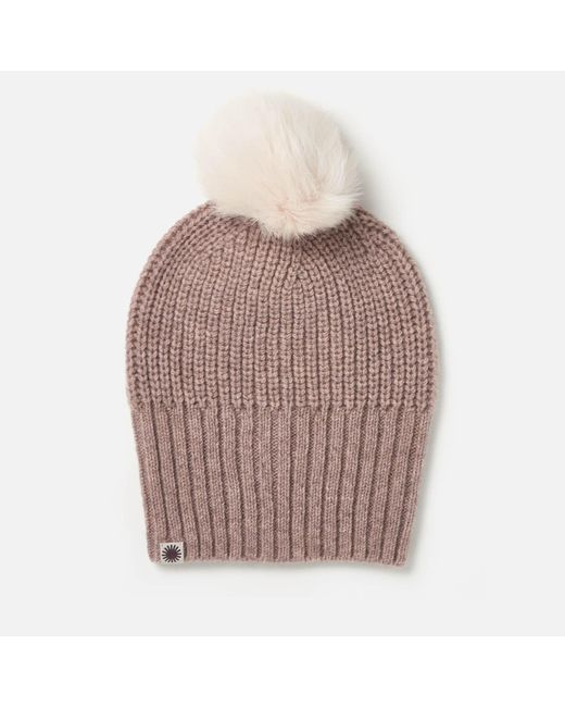 Ugg | Multicolor Beanie With Fur Pom | Lyst