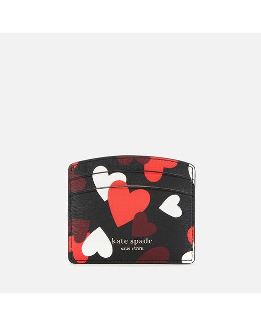 Kate Spade Red Spencer Hearts Card Holder