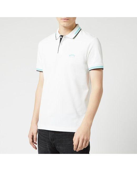 BOSS White Paul Curved Polo Shirt for men